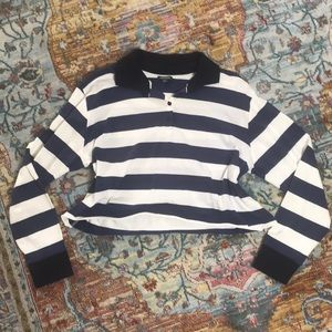 Wild Fable   Striped Navy Collar Crop Top Size 1X